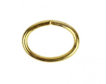 50 small oval golden rings 4mm