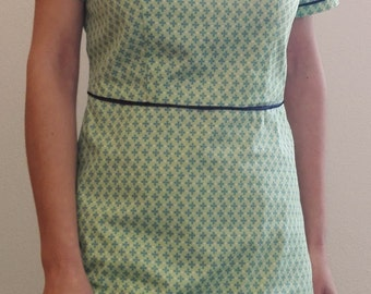 Green cotton vintage style dress Short sleeves