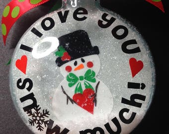 I Love You Snow Much disc ornament SVG cut file