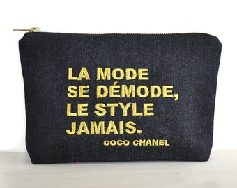 Chanel quotes zipper pouch / bag with Coco Chanel quote / clutch with embroidered quote / inspirational quote / cosmetic bag Chanel quote /