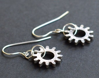 Steampunk Jewelry- Silver Typewriter Gear Earrings, Industrial Jewelry, Cyberpunk Earrings, Steampunk Earrings, Contemporary Jewelry