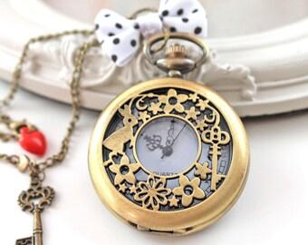 Alice in Wonderland White Rabbit Watch  necklace