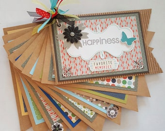 HAPPINESS - FAVORITE MEMORIES Mini Album, Mini Gift Album, Jillibean Album, Kraft Album, Brag Book, Scrapbook, Family Album, Reunion Album