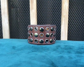 Brown Leather Cuff with Gunmetal Rivets and Eyelets
