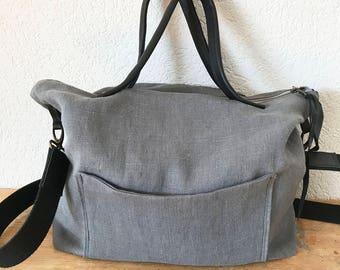European Linen Tote in Dark Grey Colour - Messenger Linen Bag - Zippered Linen Tote - Crossbody Bag - Diaper Bag - Leather Handles Tote