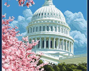 Capitol Building and Cherry Blossoms - Washington DC (Art Prints available in multiple sizes)