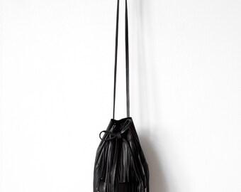 Black Bucket bag with fringe, shoulder bag cross-body bag, leather drawstring bag No.Tf- 1003