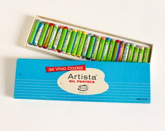 Vintage 1960s Binney and Smith Artista 24 Oil Pastels in Box Complete Partially USED, Mid Century Graphics Art Craft Draw Supply