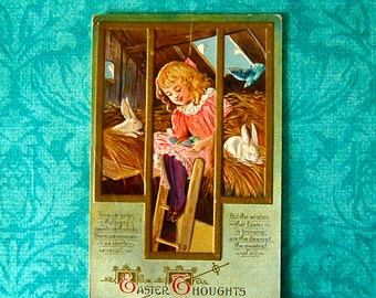 """Vintage Easter Little Girl with Bunnies & Eggs """"Easter Thoughts"""" Postcard."""