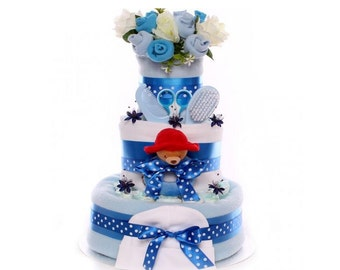 Nappy Cake Baby Boy With Paddington Ring Rattle, 3 tier nappy cake gift