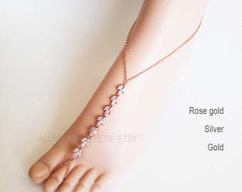 Barefoot Sandals Beach Wedding Shoes Shoe Anklet leaf bohemian wedding footless sandals rose gold silver foot jewelry bridal chain sandals