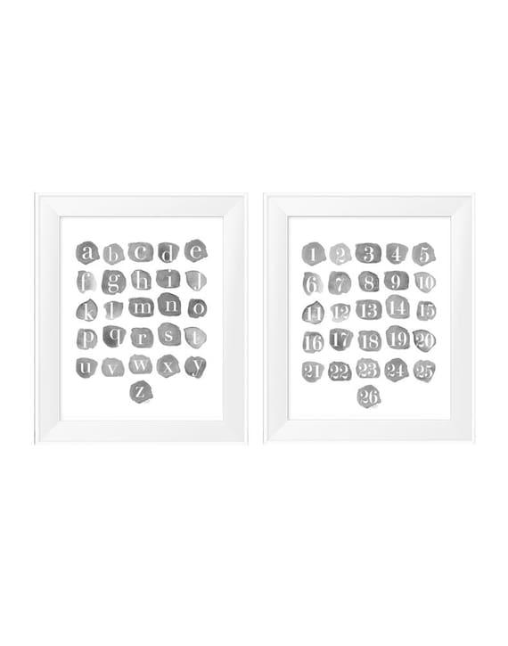 Gray ABC 123 Playroom Prints, 11x14 Watercolors