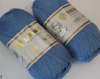 5 balls of yarn 55% / 100 g balls / Pastel blue