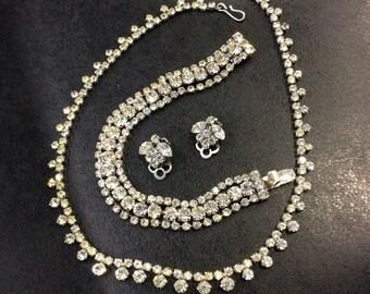 Diamanté bracelet with necklace and clip on earrings