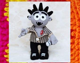 Amigurumi Pattern. Crochet Punk Rocker. Punker Doll. Amigurumi Doll. Unusual monster toy. DIY. OOAK. Rock on knitting toy pattern. Singer