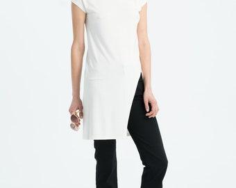 NEW Long Tunic / Asymmetric Tunic / Jersey Top / Summer Tunic / Short Sleeve Top / Long Blouse / Marcellamoda - MB1043