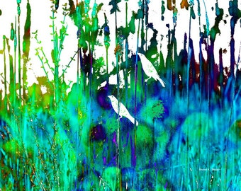 Spring Birds Art, Grackle Photomontage, Blue Green, Flowers Wildflowers, Turquoise Cottage Chic, Feminine Home Decor, 8 x 10, Giclee Print