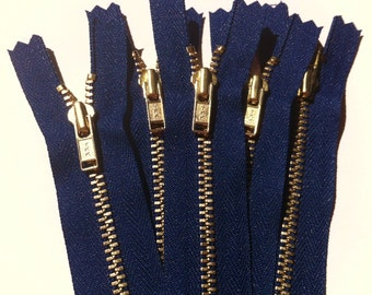 Brass Zippers- 14 inch closed bottom ykk gold colored metal teeth zips- (5) pieces - Navy 919
