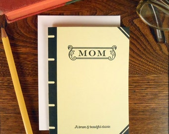 letterpress mom book cover greeting card brave & beautiful classic pastel yellow thanks mom mother's day birthday book lover