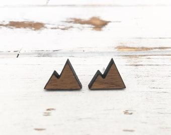 Wood Mountain Earrings - Geometric Earrings - Minimalist Earrings - Laser Cut Earrings - Simple Wood Posts - Walnut Wood Earrings