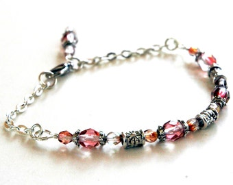 Bohemian Charm Beaded Bracelet, Blushing Pink Glass and Silver Beads, Chain Bracelet, Dangling Charm, Delicate Wrist or Ankle Bracelet