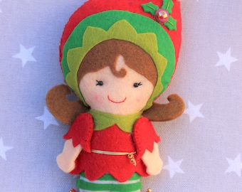 Christmas Elf, felt Christmas ornament, Christmas tree decoration, felt Christmas doll, nice Christmas ornament, Christmas gift