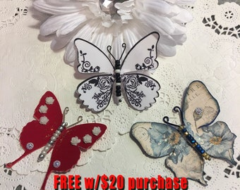 Honor the Military Red White Blue Glass Bodied Butterflies DarlingArtByValeri Scrapbooking Embellishment Albums Cards 4th of July Patriotic