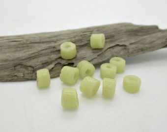 Pale Lemon Yellow Glass Tube Bead, African Sandcast Bead, Powder Glass Bead, 7x6mm (20)