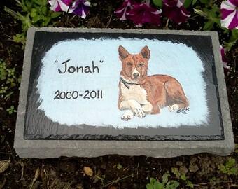 Pet Memorial Garden Stone,slate, outdoor pet memorial,,custom painted pet memorial stone, personalized,,cat, dog,pet