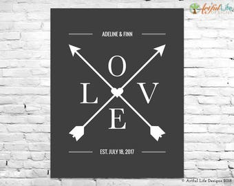 ANNIVERSARY GIFTS, First Anniversary, 1st Anniversary, Gift for Couples, Paper Anniversary, Newlywed Gifts, Personalized Gift, Love Arrows
