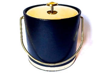Vintage 80's Black and Gold Faux Leather Ice Bucket
