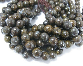 32 pcs 12mm round faceted bronzite beads
