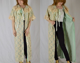 1950s Aristocrat Lace Button Up Duster Jacket Robe