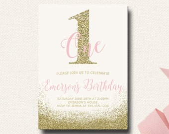 1st Birthday Invitations | Pink and Gold First Birthday | Glitter Invitation | Girls Birthday Invitations