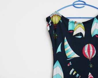 SALE /Hot Air Balloon Dress, Women Sleeveless Tank Stretch Dress, Pop Art Print Dress, Polyester Spandex Dress M, Womens Tank Dress