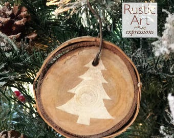 IVORY Christmas Tree Rustic Ornament | Reclaimed Wood Christmas Ornament | Hostess Gift