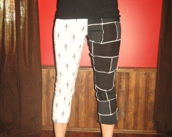 BLACK scraps Patchwork 3/4 Leggings pants Small Medium By Vicmes Clothing