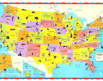 The Children's United States, USA Wall Map – 30×50