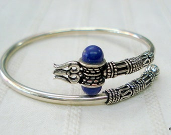 Traditional design sterling silver bangle trident bracelet lapis gemstone