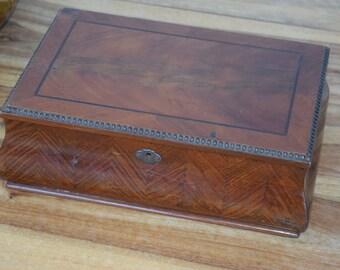 Antique Wooden Box Biedermeier Style Veneer Handmade Marquetry Box Home Decor