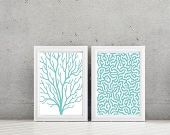 Sea Coral Art - Sea Coral Print - Sea Coral Decor - Nautical Decor - Nautical Art, Bathroom Art,  Bath Decor, Teal Turquoise White  (NS-603)