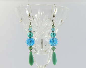 Bohemian Lampwork and Murano Blue and Green Bumpy Earrings with Vermeil and Sterling Silver. Lovely Unusual Handmade Earrings