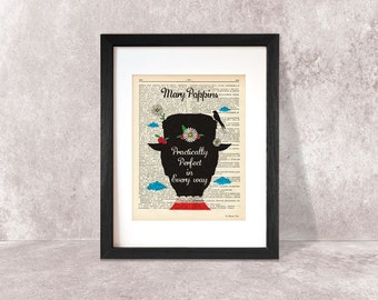 Mary Poppins print-Practically perfect in every way print-valentine gift-Poppins quote print-Poppins book art-print-print-NATURA PICTA-DP009