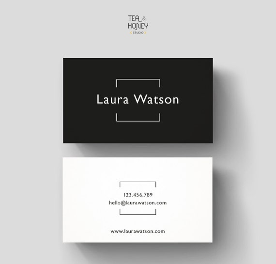 Minimalistic business card premade design black white - Business name for interior design company ...