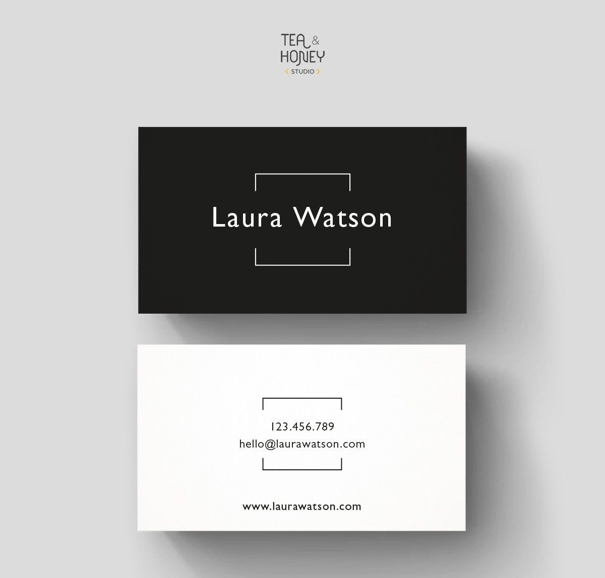 Minimalistic business card premade design black white zoom reheart Gallery