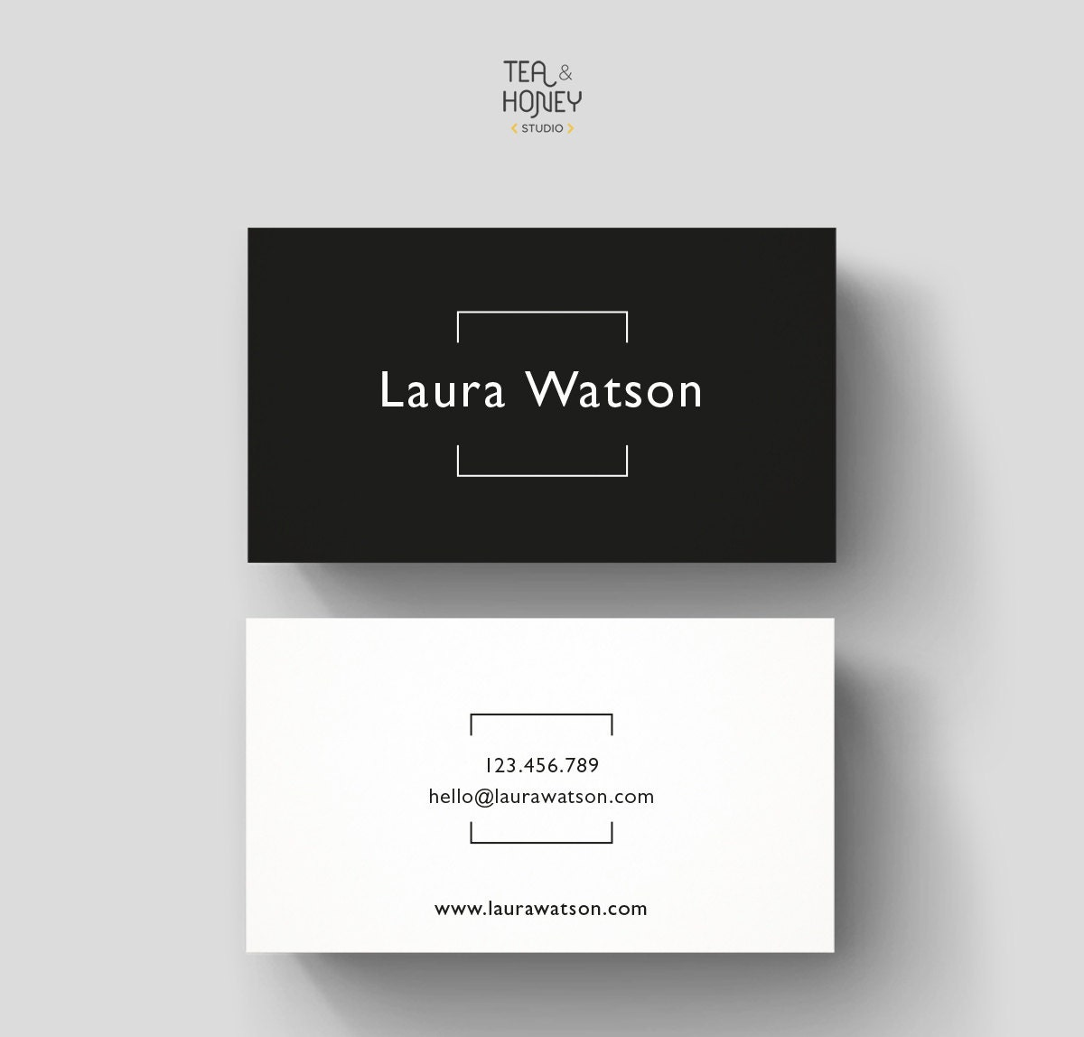 Minimalistic Business Card Premade Design Black & White
