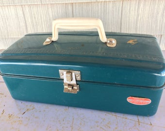 Vintage Green Union Steel Utility Chest, Tool Box, Craft Supply, Cash Box, Tackle Box