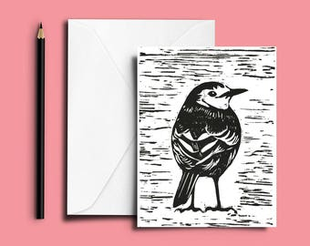 Pied Wagtail Card, Hand Printed Card, Linocut Birthday Card, Bird Card, Wagtail Card, Mother's Day Card, Father's Day Card