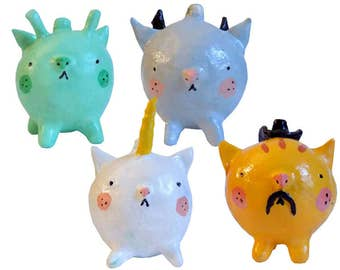 Fantasy Cats Ornaments- Alien, Cowboy, Unicorn, Bat