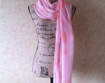 Rayon scarf/wrap peach and white hand dyed